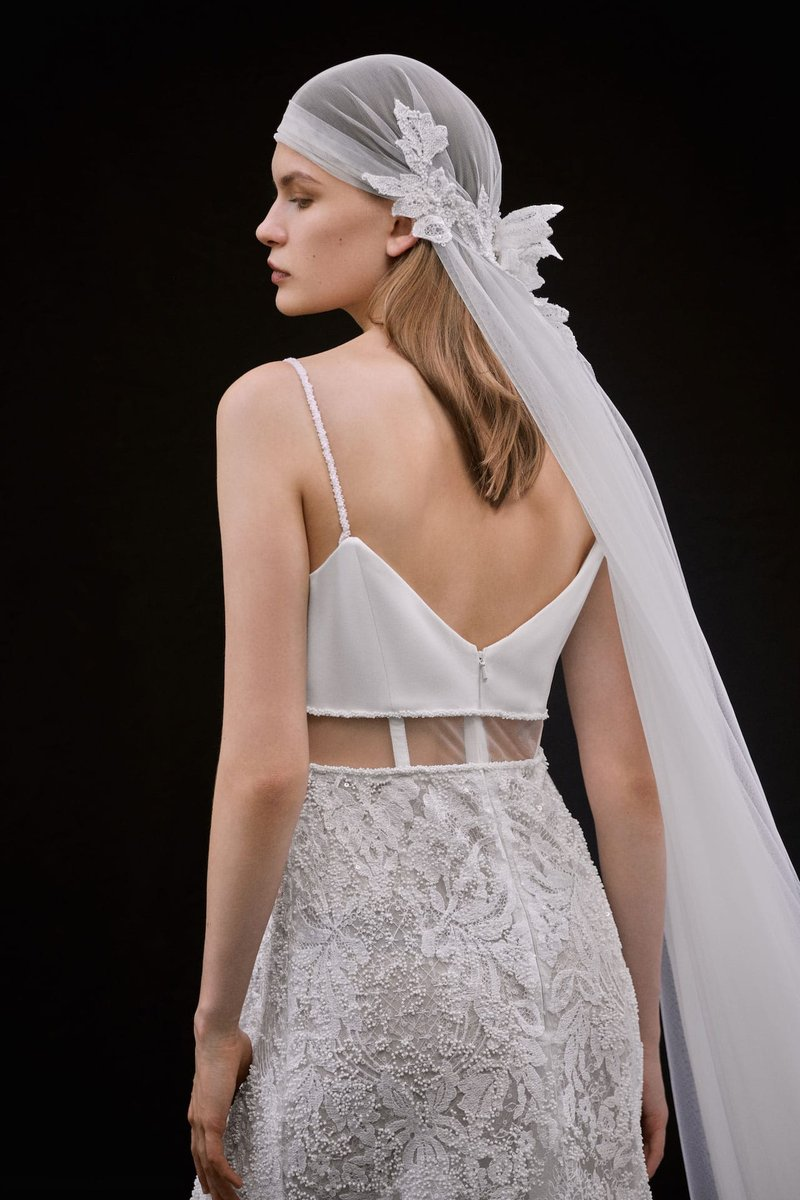 "Back of ""Avila"" Gown & Veil by Francesca Miranda"