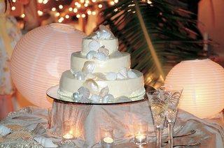 seashell-decorations-on-beach-wedding-cake