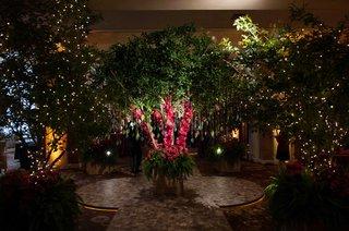 trees-for-reception-enchanted-garden-theme-indoor-wedding-reception