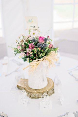 simple-diy-wildflower-centerpiece-pink-blue-violet-table-label-british-english-garden-wedding