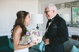 bride-in-monique-lhuillier-wedding-dress-with-father-of-bride-and-bouquet