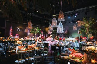 wedding reception tropical unique retro modern color palette orange green unique decor