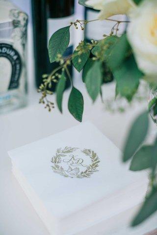 wedding-reception-cocktail-beverage-napkin-at-bar-gold-monogram-dove-symbol