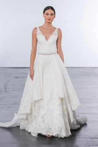 dennis-basso-for-kleinfeld-2018-collection-wedding-dress-v-neck-lace-gown-detachable-skirt-belt