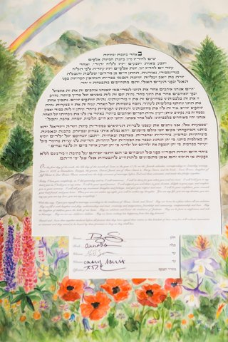 ketubah-watercolor-painted-illustration-of-garden-and-rainbow-mountains-and-flowers