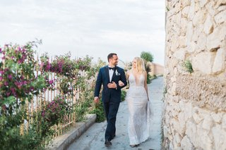bride-in-galia-lahav-wedding-dress-with-plunging-neckline-groom-in-navy-tuxedo-capri-wedding