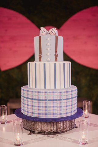 grooms-cake-made-to-look-like-button-up-shirts-with-suspenders-and-a-bowtie
