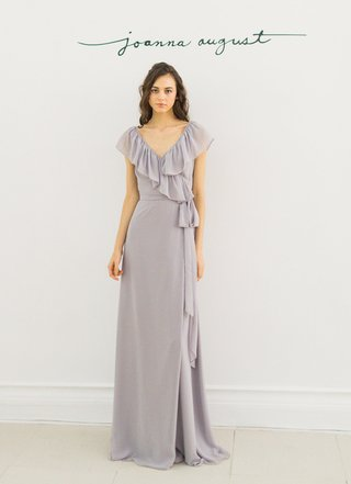 joanna-august-2016-long-bridesmaid-dress-with-ruffles-and-tie-around-waist-in-grey-lavender