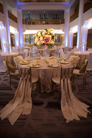 wedding-reception-at-the-renaissance-downtown-cincinnati-hotel-with-trainling-fabric-on-chairs