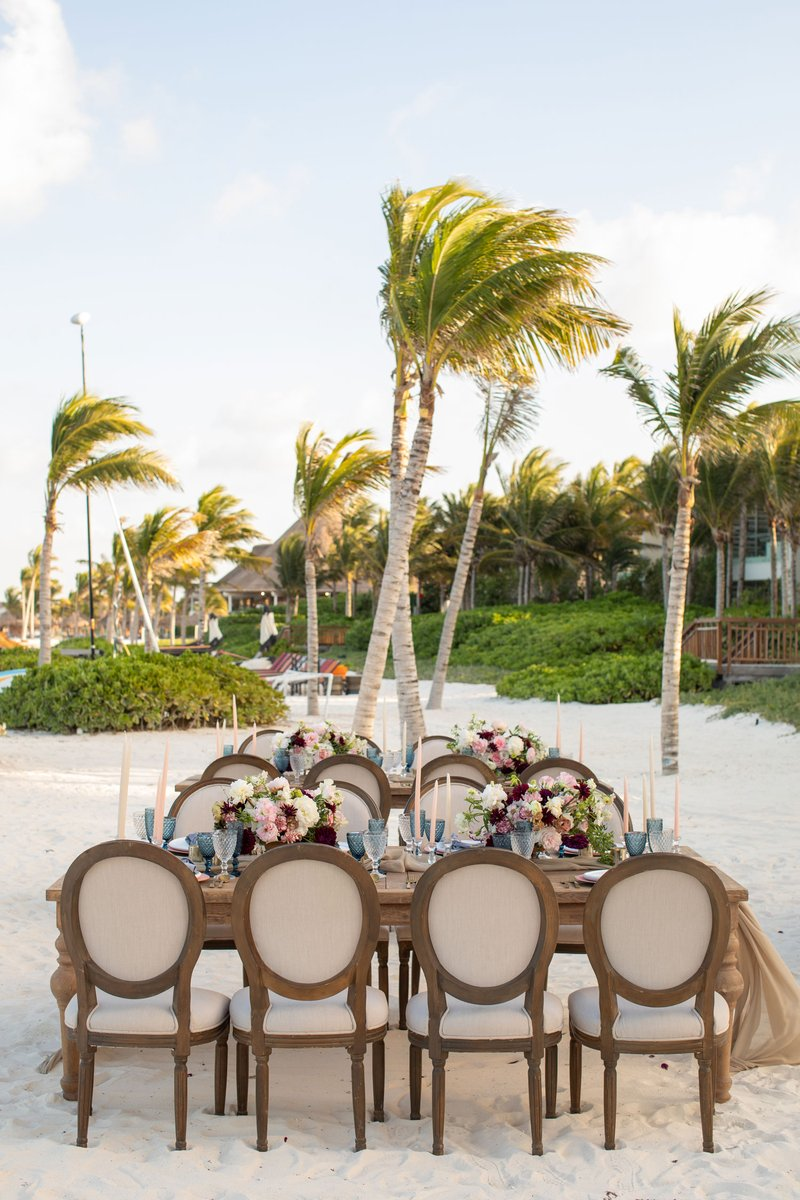 Oval-Back Guest Chairs at Beach Wedding