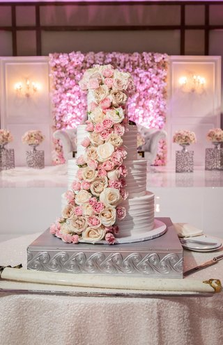 wedding reception cake table silver stand buttercream five layer cake white blush rose pink flowers