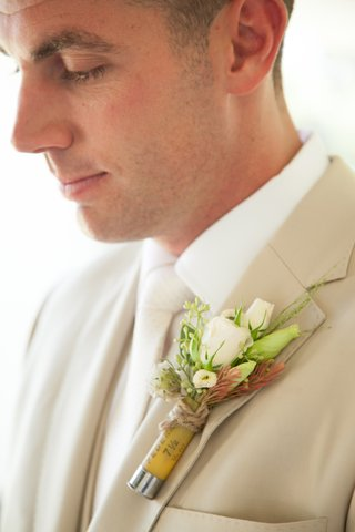 rustic-boutonniere-with-game-shock-ammo-tie-and-white-roses