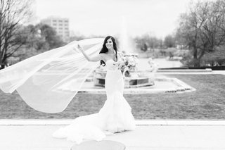 A Charming Fete Bridal Portrait black and white veil