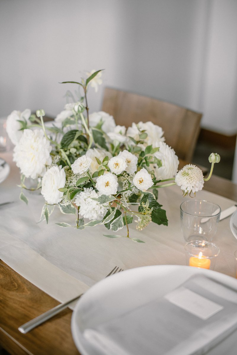 White Flowers on Neutral Table