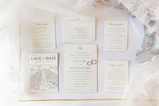 ivory-wedding-invitation-suite-with-round-corners-calligraphy-and-save-the-date-wedding-bands-rings