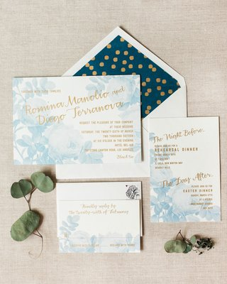 watercolor-looking-blue-flowers-on-white-invitation-with-gold-lettering-and-blue-gold-envelope-liner