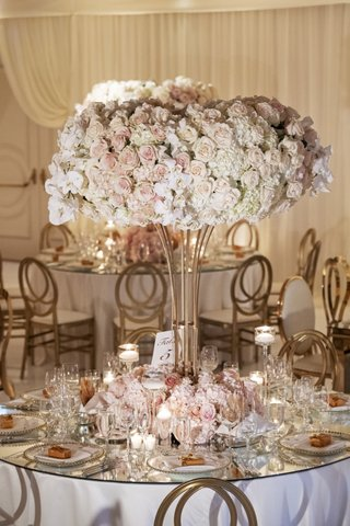 wedding-reception-round-table-mirror-top-tall-centerpiece-pink-white-rose-hydrangea-orchid