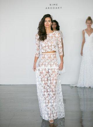 rime-arodaky-fall-2017-bridal-three-quarter-sleeve-sheer-flower-embroidered-top-and-long-skirt