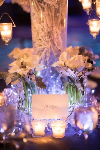 snowy-branches-white-calla-lilies-silver-brunia-balls-dusty-miller-table-number-crystals-candles