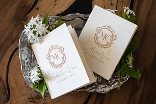wedding-vow-books-gold-monogram-calligraphy-on-silver-tray-stephanotis-blossom-flowers