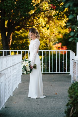bride-in-sarah-seven-wedding-dress-sheath-wedding-dress-with-crepe-skirt-and-lace-long-sleeves