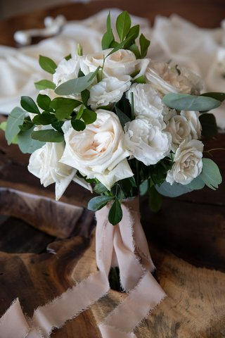 wedding-bouquet-white-rose-lisianthus-flowers-greenery-frayed-blush-pink-ribbon-torn-edge-ripped
