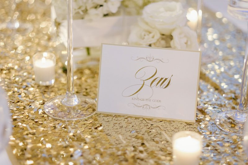 Mythical White & Gold Table Name