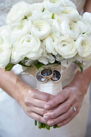 bride-holding-white-rose-and-ranunculus-bouquet-with-three-charms-rhinestones-old-photos-of-family