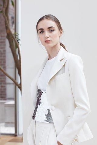 liene-oscar-de-la-renta-spring-2018-ivory-stretch-wool-bridal-tuxedo-silver-metallic-sequin-corset