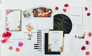 floral-save-the-date-and-wedding-invitations-black-gold-and-white-wedding-invitations