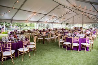 purple-table-linens-gold-chairs-colorful-floral-centerpieces-tented-reception-strings-of-lights