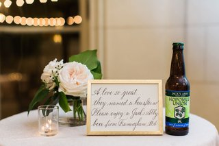 wedding-calligraphy-sign-gold-frame-next-to-jacks-abby-beer-bottle-craft-beer-wedding-reception