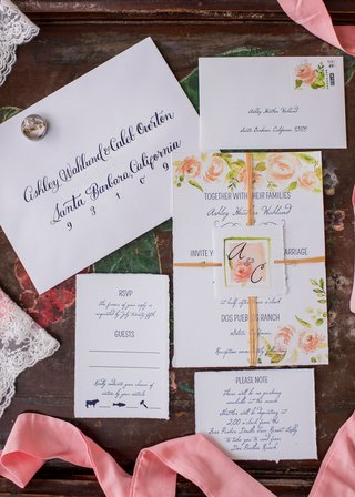 wedding-invitation-suite-navy-blue-calligraphy-script-flower-print-design-and-matching-monogram