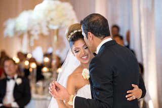 father-daughter-dance-forehead-kiss-black-tuxedo-sweet-headpiece-reception-pelican-hill