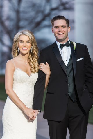 josh-and-allie-smile-for-the-camera-bride-in-ines-di-santo-wedding-dress-groom-in-tuxedo-and-bow-tie