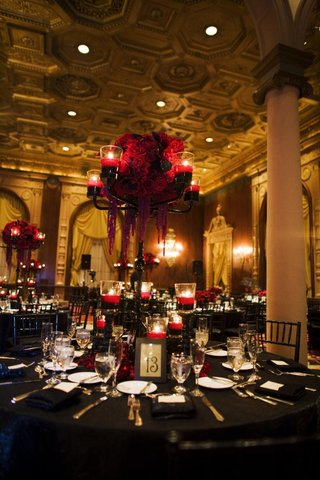 wedding-reception-table-with-black-candelabra-with-red-candles-floating-in-red-water-and-red-roses