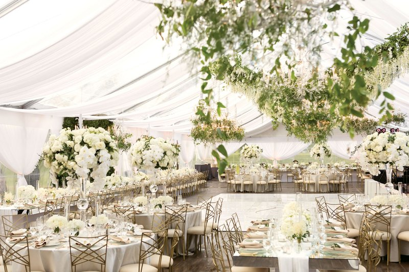 White & Gold Tent Wedding