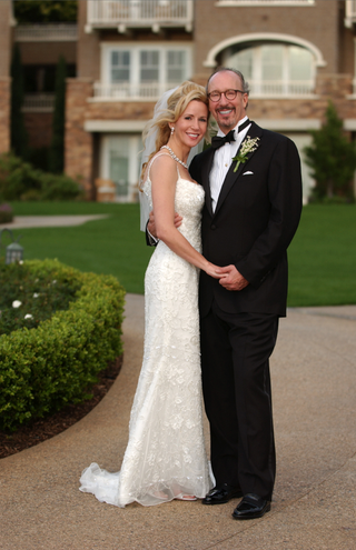 bride-in-beaded-sheath-dress-and-groom-in-tuxedo
