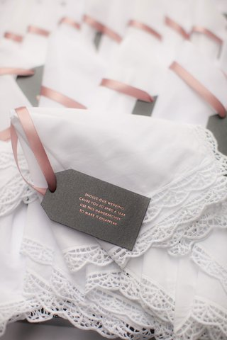 white-handkerchiefs-for-parents-and-wedding-party-with-note-describing-surprise-wedding