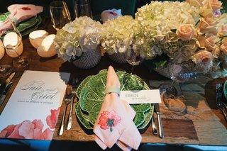 wedding reception unique decor modern retro style pink napkin embroidery cabbage plate menu design ceci new york