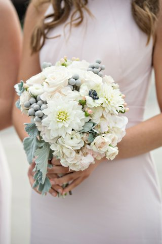 bridesmaid-bouquet-with-dahlia-rose-anemone-brunia-berry-dusty-miller-lambs-ear
