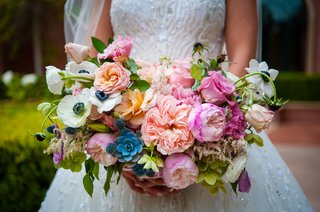 bride-in-kleinfeld-bridal-zuhair-murad-dress-holding-bouquet-with-pink-peony-blue-succulent-white