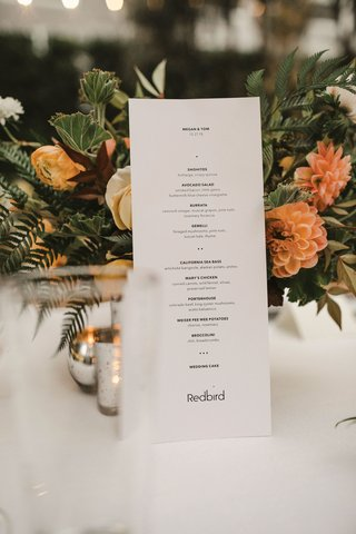 wedding-reception-menu-card-simple-black-white-small-font-bold-and-thin-type-orange-flowers