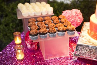 purple-sequin-dessert-table-with-vanilla-and-chocolate-cupcakes