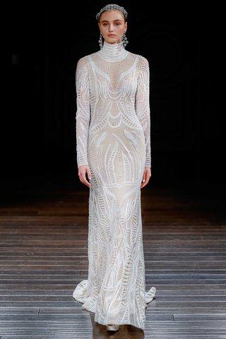 naeem-khan-bridal-spring-2017-luxor-high-neck-sheath-long-sleeve-wedding-dress-embroidery-open-back