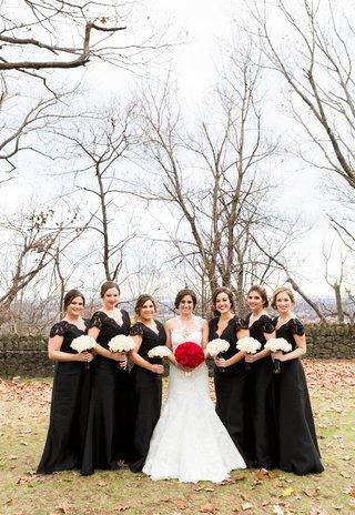 joe-paniks-wife-brittany-joe-and-brittany-panik-wedding-bride-in-pronovias-bridesmaids-in-black