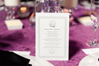 wedding reception dinner menu first course second course dessert b order monogram