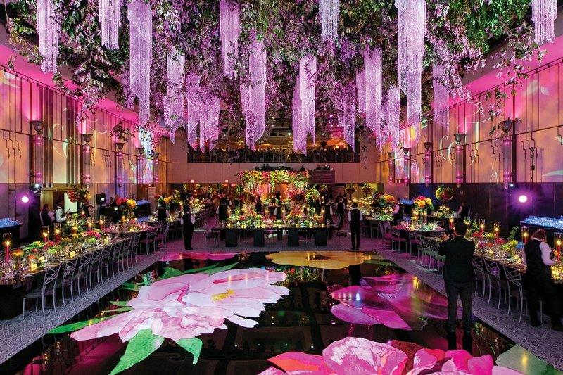 Luxe Reception with Watercolor Dance Floor Design