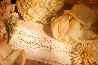 ivory-wedding-invite-with-gold-script-surrounded-by-flowers