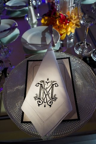 black-embroidered-wedding-monogram-on-napkin
